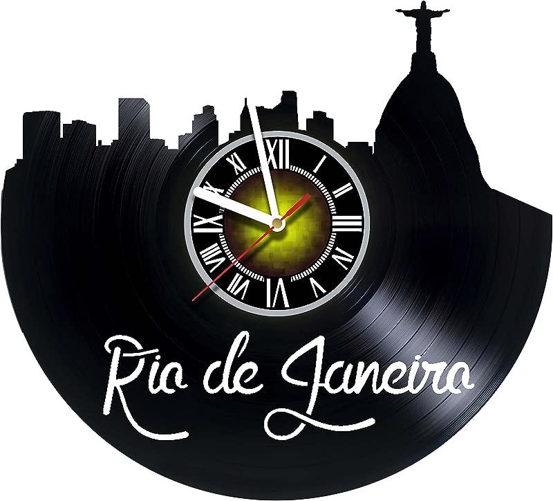 Toffy Workshop Rio DE Janeiro Brazil Skyline Vinyl Record Wall Clock Artwork Gift Idea For Birthday Christmas Women Men Friends Girlfriend Boyfriend And Teens Living Kids Room Nursery