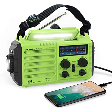 Lukasa Upgraded Emergency Hand Crank Portable AM//FM//NOAA Weather Radio,5000mAh Rechargeable Solar Radio with LED Flashlight Reading Lamp,SOS Alarm Phone Charger Red