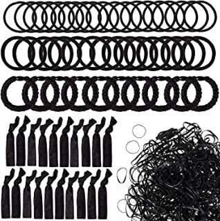 Whaline 1100 Pcs Black Hair Ties,Mini Rubber Bands,Large Stretch Hair Ties,4mm Hair Bands,8mm Hair Elastics,No Crease Hair Elastic Ties, Mixed Elastic Hair Bands Ponytail Holders for Girls Women