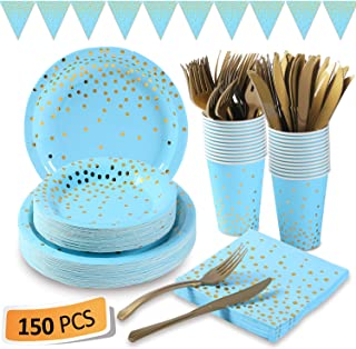 Blue and Gold Party Supplies 150Pcs Golden Dot Disposable Party Dinnerware Includes Paper..