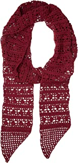 Ten Thousand Villages Burgundy Crocheted Polyester Scarf 'Crocheted Skinny Scarf'