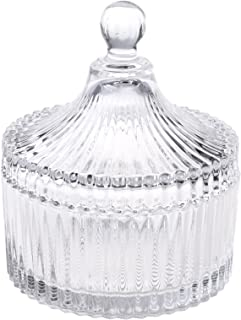 "Beautyflier 5"" Crystal Castle Candy Dish Stripe Snack Bowl Jar Fruit Container Jewelry Storage Case with Ball Handle Banquet Household Desktop Display Centerpiece"