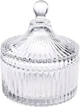 """Beautyflier 5"""" Crystal Castle Candy Dish Stripe Snack Bowl Jar Fruit Container Jewelry Storage Case with Ball Handle Banquet Household Desktop Display Centerpiece"""
