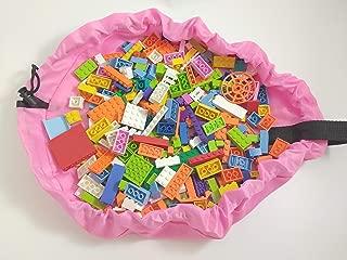 LEGO 1 Pound lb Random Bright Girl Colors Parts Pieces Bulk Lot + Drawstring Storage Bag + 1 Minifigure