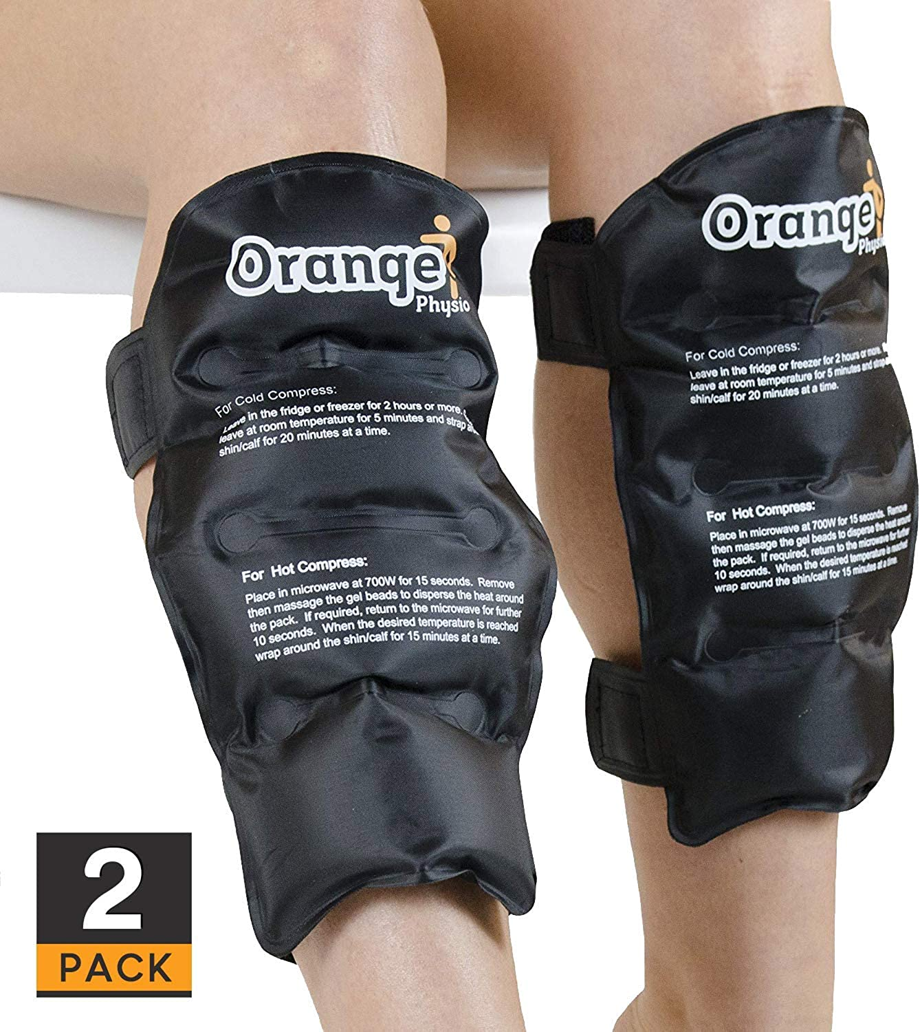 2 x Premium Shin & Calf Hot and Cold Packs with Thick Strong Fastener. Use Cold to Ice Shin Splints, Fracture, Torn Calf Muscles or Just Warm & Loosen Muscles to Reduce Injury Recovery time (by Orang