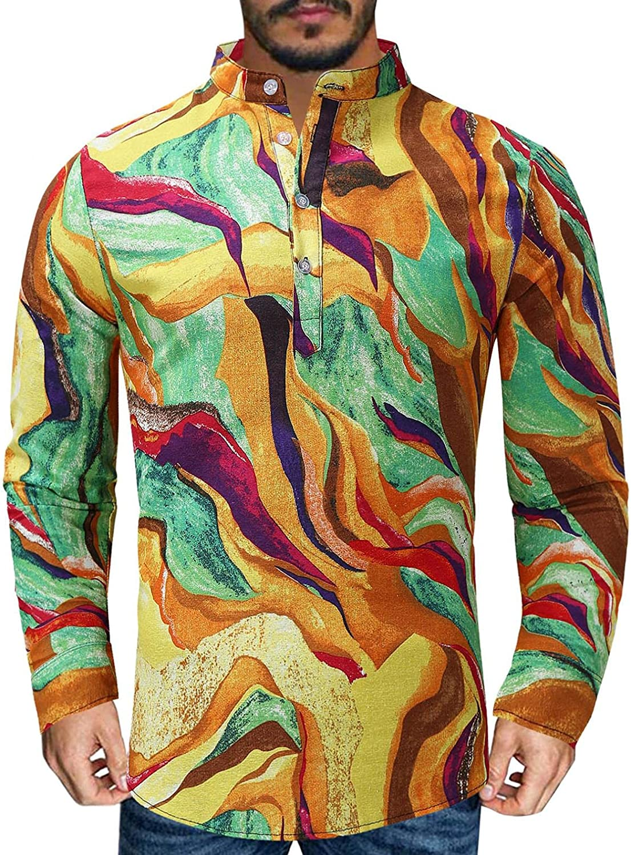VEKDONE Mens Long Sleeve Corduroy Shirt Ethnic Floral Print Casual Slim Fit Retro Turn-Down Collar Button Down Shirts Tops