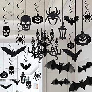 DIY Halloween Party Supplies Decorations,Halloween Eve Decor Swirl Ceiling Hanging and Wall Decoration Set Included Bats,Spiders,Ghost,Pumpkin, 3D Chandelier