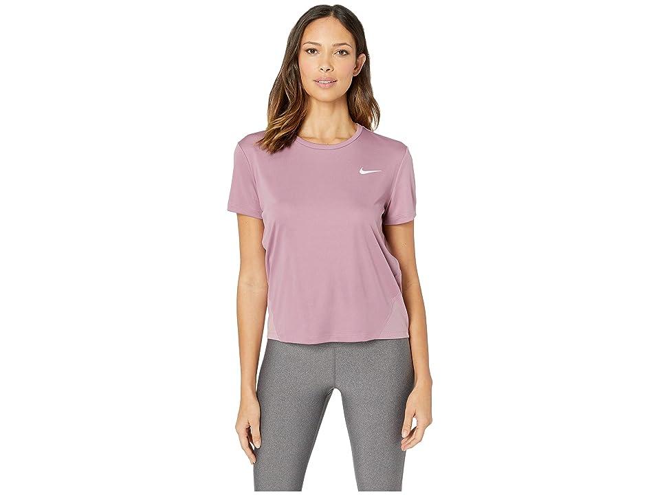 Nike Miler Top Short Sleeve (Plum Dust/Reflective Silver) Women