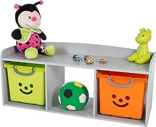 Iris Ohyama Kids Bench Coffre de Rangement pour Enfant, Bois, Gris, 101,4 x 34 x 43,4 cm