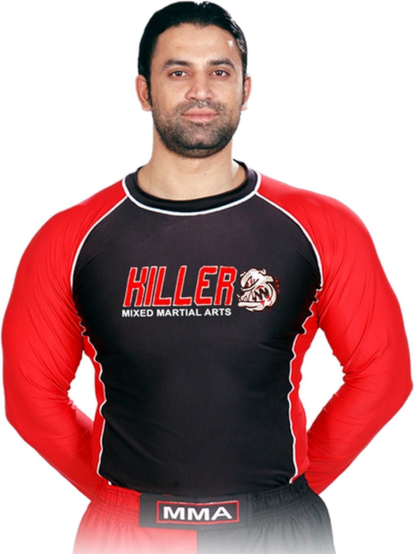 Wodorf USA Rash Guard Color Black/Red Full Sleeve Size M Killer Logo Sparring Fitness Rash Guards Grappling, Kickboxing Rash Guards, Muay Thai Training Rash Guards