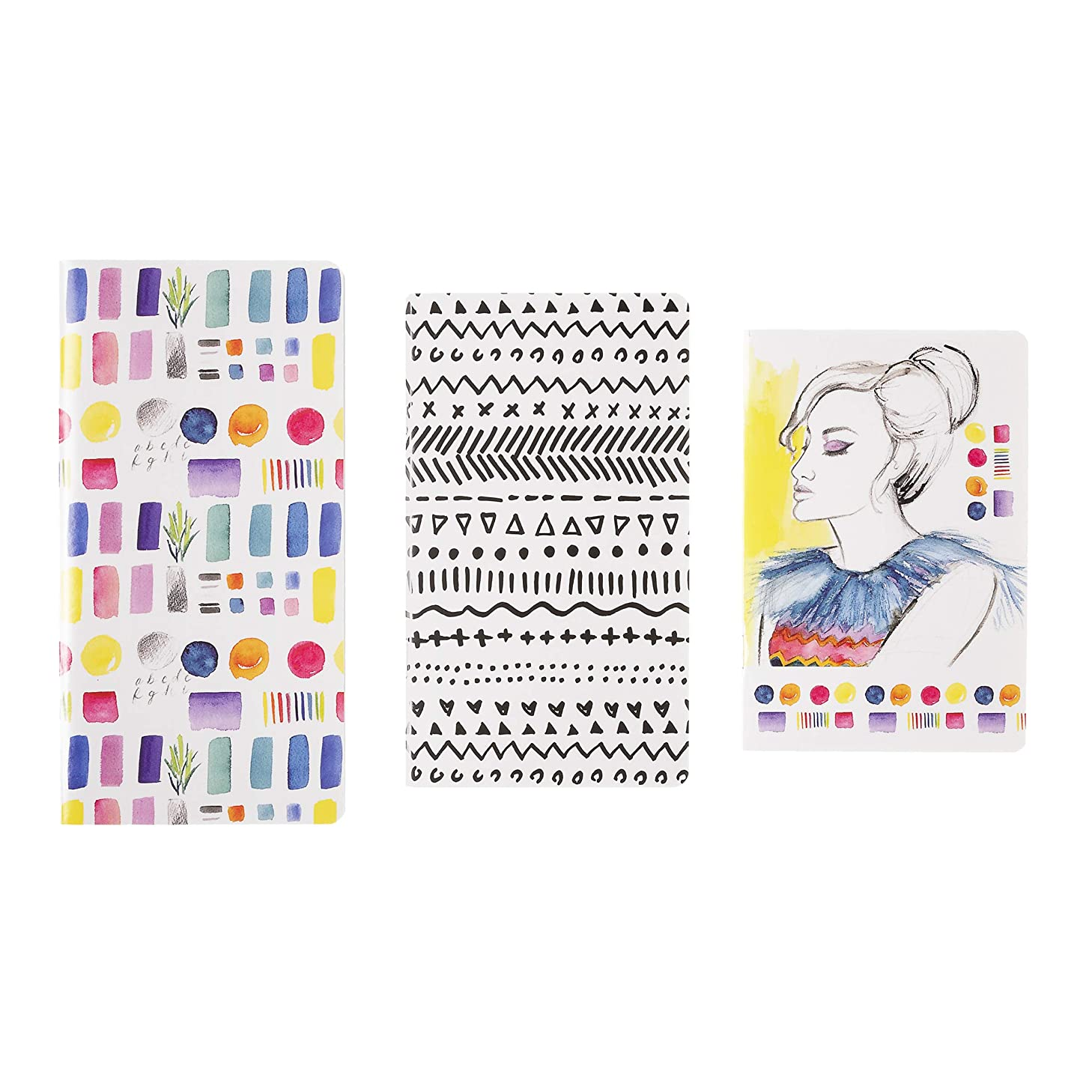 Darice 30076556 Notebook Set: Softcover, Woman and Prints Design, 3pc, Multicolor