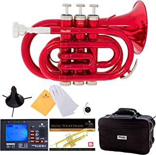 Mendini MPT-RL Red Lacquer Brass Bb Pocket Trumpet with One-Year Warranty, Tuner, Stand, Pocketbook, Mouthpiece and Deluxe Case