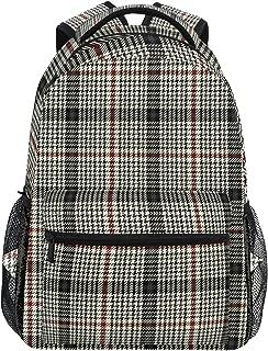 Plaid Pattern Black White Backpack Women Men Teen Girl Boy School Bag Purse Bookbag Casual Daypack Supplies