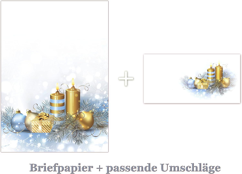 100 Blatt Briefpapier DIN A4  100 Stück Umschläge 5051 Weihnachten Goldene Kerzen Kugeln Motivpapier   Premium Briefumschläge DIN lang (110 X 220mm) mit Motiv bedruckt, Briefhüllen KuGrün, ohne Fenster, haftklebend B00PQOV108 | Hohe Qu