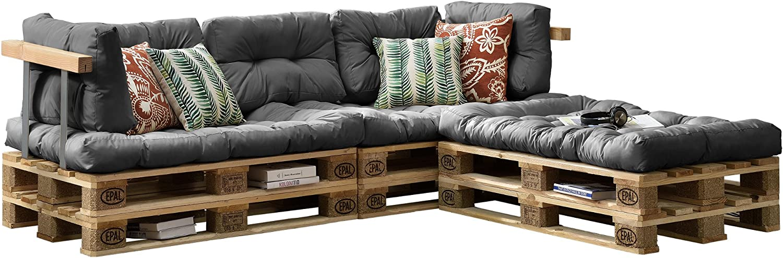 [en.casa] Euro Paletten-Sofa - DIY Mbel - Indoor Sofa mit Paletten-Kissen   Ideal für Wohnzimmer - Wintergarten (3 x Sitzauflage und 5 x Rückenkissen) Grau