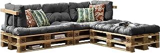 [en.casa] Cojines para sofá de palés 'europalés' - Set - 3 Cojines de Asiento + 5 Cojines de Respaldo Gris Claro - Muebles DIY - Ideal para salón - Sala de Estar