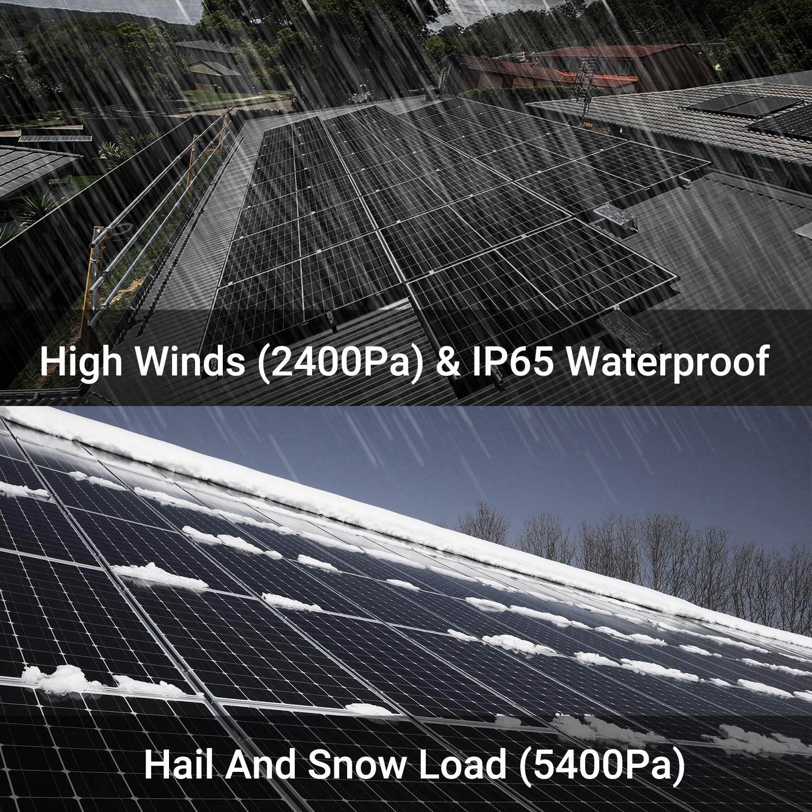 Newpowa 180W(Watt) Solar Panel 180W>170W 12V Monocrystalline High Efficiency PV Module Off Grid for RV Trailer Camper Roof Top