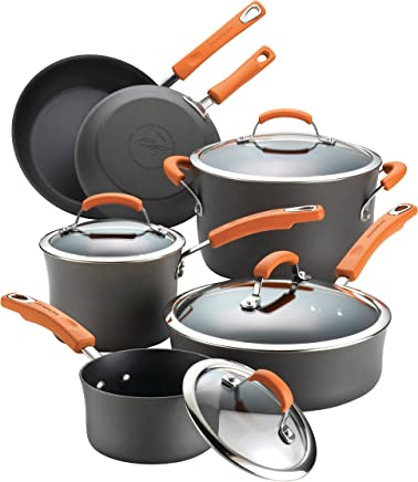 Rachael Ray 87375 10-Piece Hard Anodized Aluminum Cookware Set, Orange