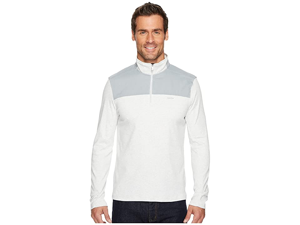 Calvin Klein Mixed Media 1/4 Zip Pullover (Soft Grey Heather) Men