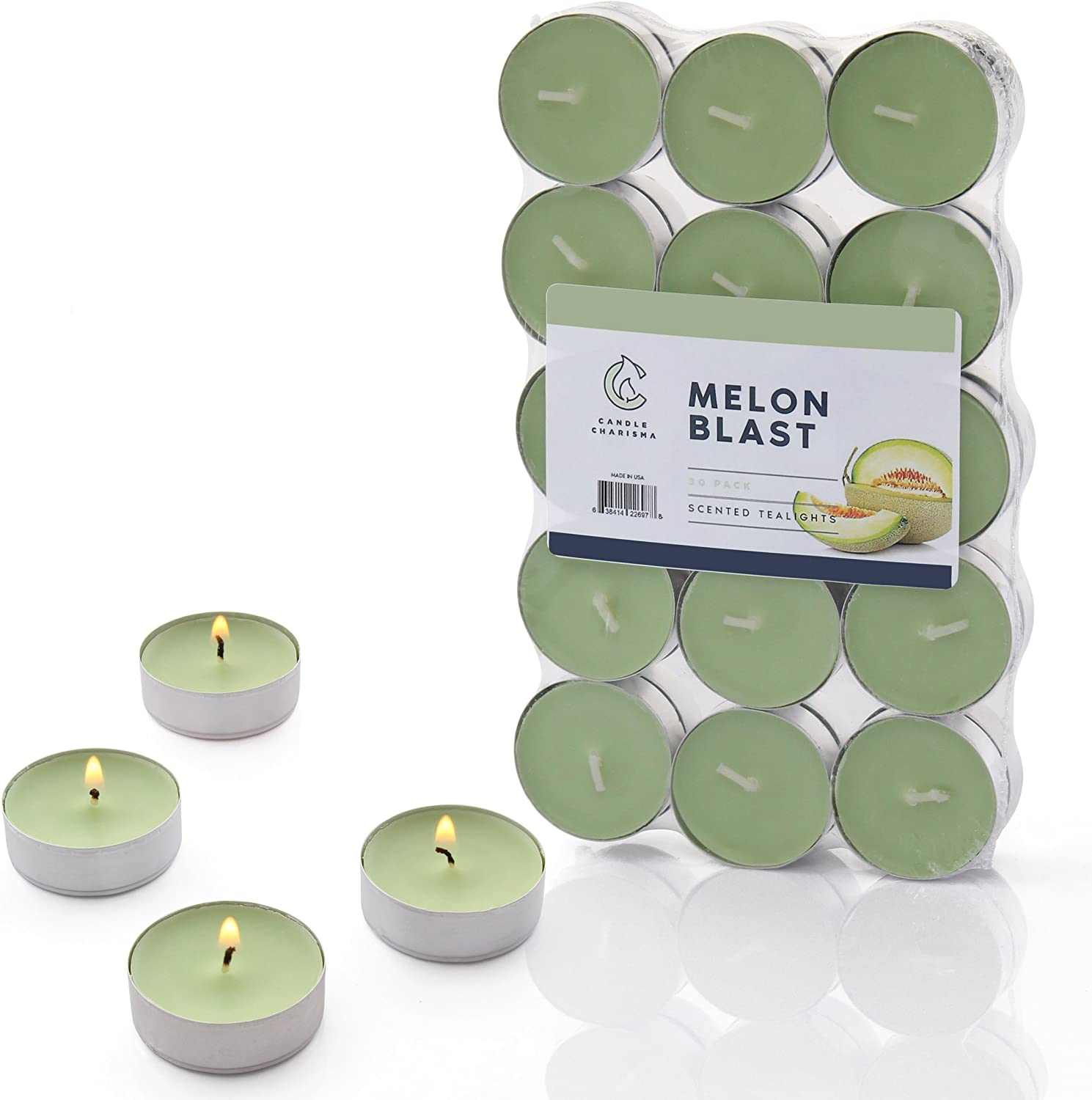 Melon Blast Tealights Fruit Scented Candles - 30 Pack - Made in USA