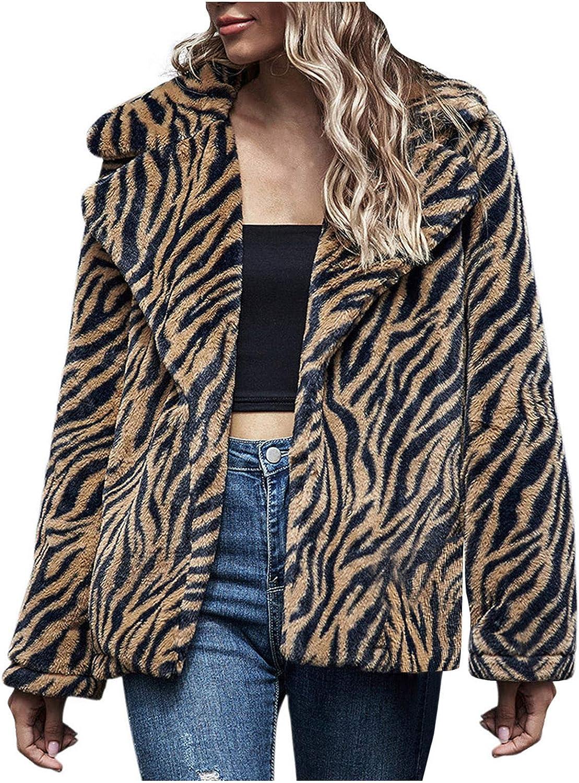 Fashion Faux Fur Jacket Women's Leopard Pocket Fuzzy Warm Winter Oversized Outwear Long Coat