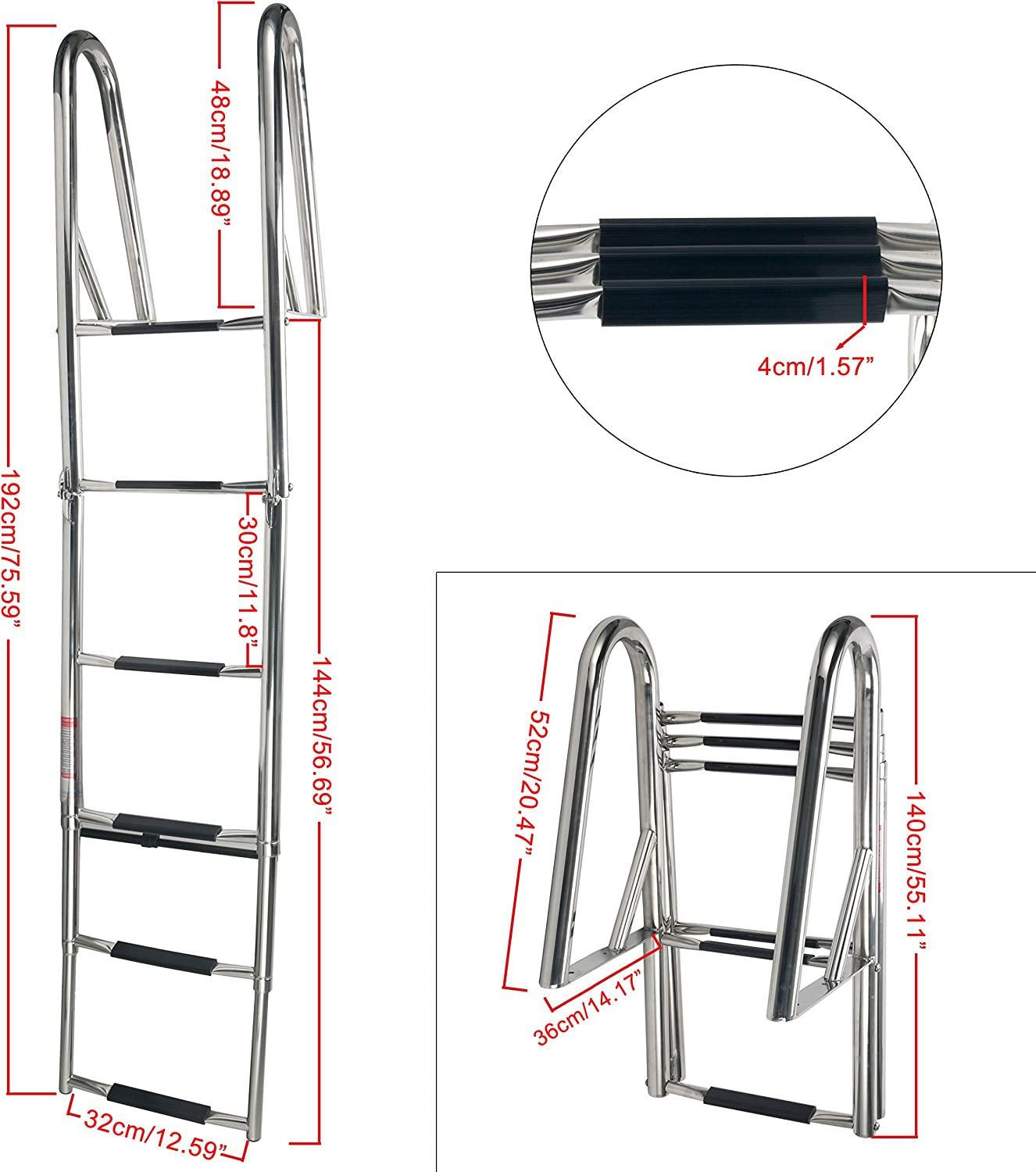 Stainless Steel 6 Step Heavy Dock Telescoping Ladder Handrails for Pontoon Boat