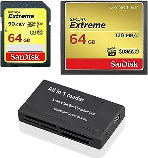SanDisk CompactFlash Extreme 64GB CF Speicherkarte (SDCFXSB 064G G46) und 64GB SDHC Extreme (SDSDXVE 064G GNCIN) für Canon 5D Mark III, 1D Mark IV Kameras Bundle mit Everything But Stromboli Reader