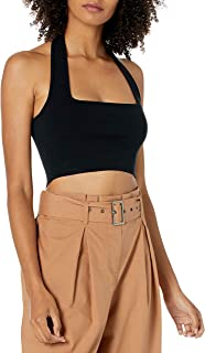 The Drop Greta Top Ajustado Estilo Bralette Para Mujer, Con Escote Cuadrado Tipo Halter