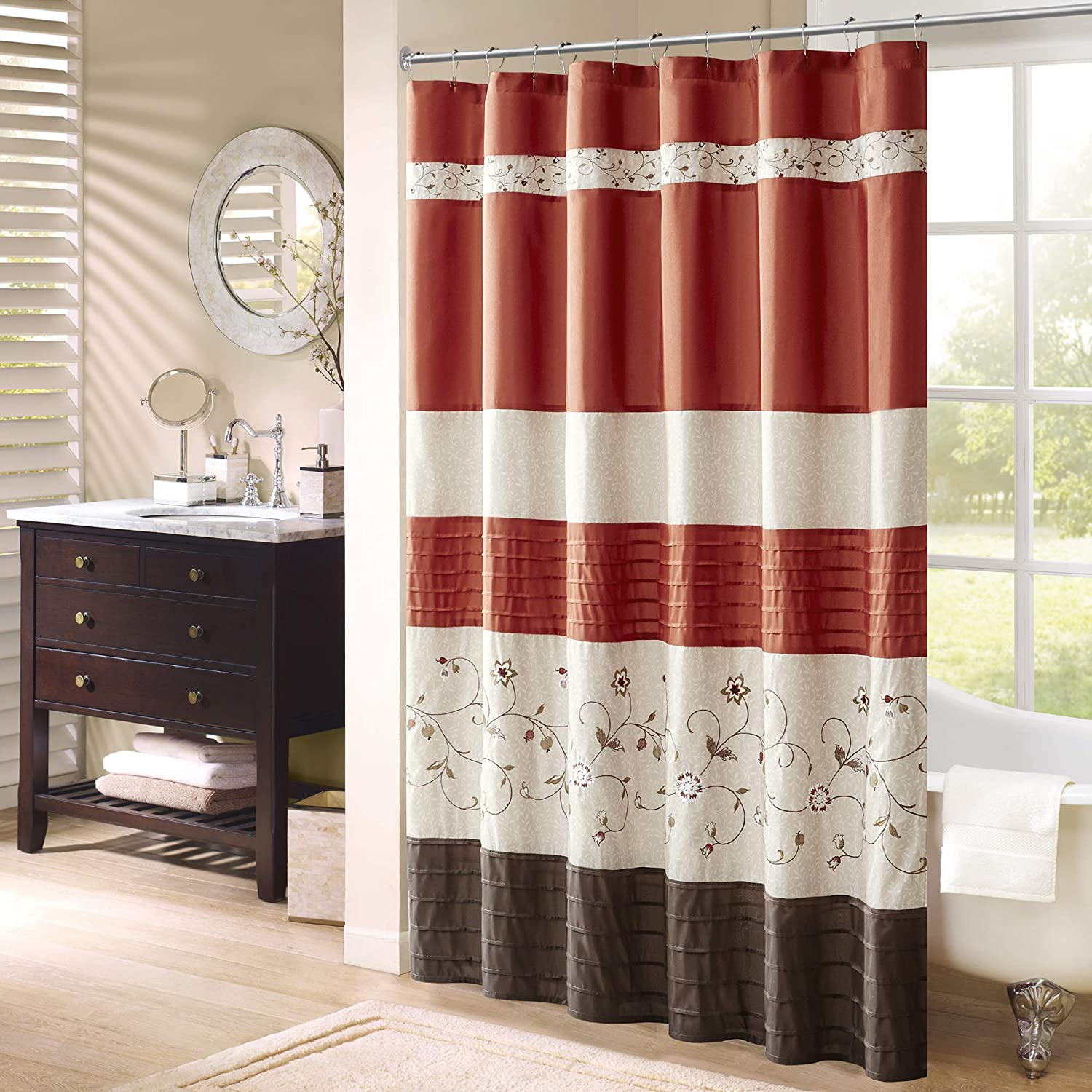 Max 88% OFF Madison Park sale Serene Shower Curtain Faux Floral Embroidered Silk