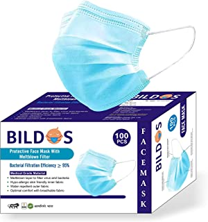 Bildos 3 Layer Mask with Melt blown Layer, Nose Wire and Super Spandex Elastic in Box Packing (Pack of 100) - Blue