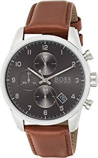 Hugo Boss Men's Grey Dial Brown Leather Watch - 1513787
