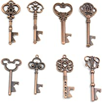 Assorted 16 Mixed Size Antique Copper Key Shaped Bottle Openers Wedding Party Favors Rustic Decoration (Antique Copper)