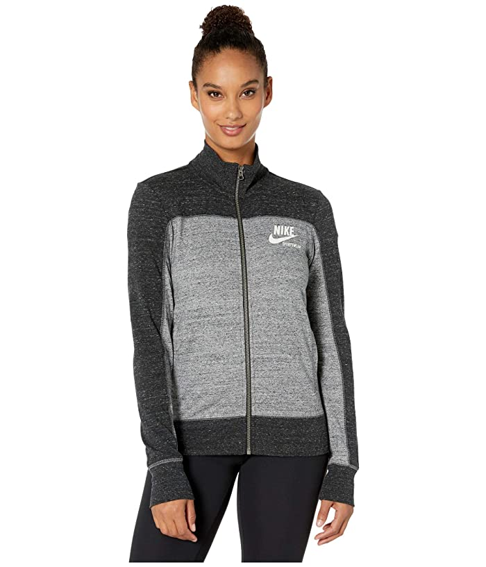 Nike Sportswear Gym Vintage Top Long Sleeve Full Zip Graphic (Black/Carbon Heather/Cool Grey/Sail) Women