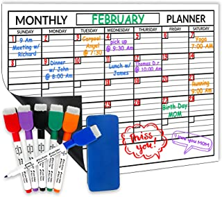 Scribbledo Magnetic Dry Erase Monthly White Board Sheet for Refrigerator 11X17 Inch, Includes 6 Markers and Eraser