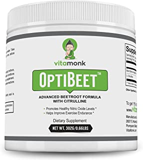 OptiBeet™ - Powerful Beet Root Extract with L-Citrulline Endurance Booster - Natural Red Beetroot Powder Preworkout Fuel - Nitric Oxide Enhancer Supplement - Powdered Nitrate Supplements Drink
