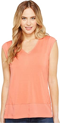 Short Sleeve V-Neck with Crepe De Chine Trim