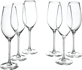 Stone & Beam Traditional Champagne Flute Glass, 9-Ounce, Set of 6