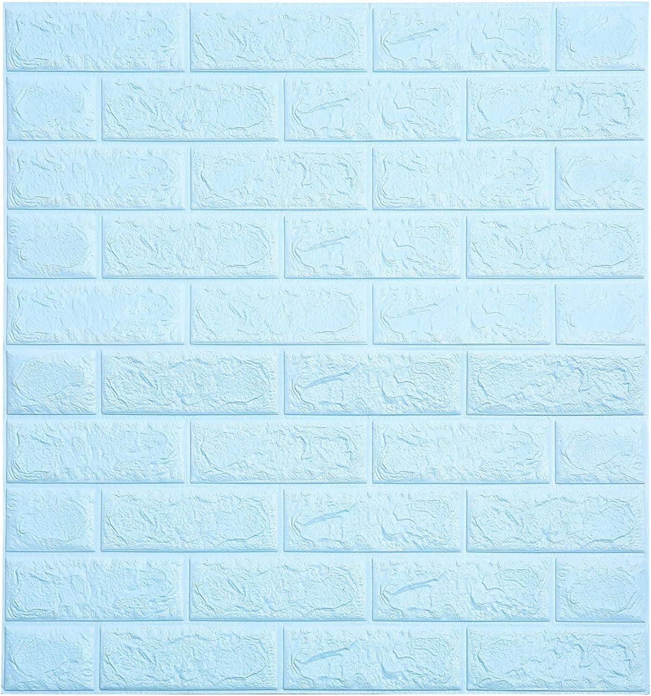 Soontrans Papel Pintado de Pared 3D Ladrillo Empapelado Pegatina Mural Autoadhesivo Decorativos Extra/íble Impermeable para Hogar Cocina Sal/ón Moderna TV Decor 77 cm x 70 cm 10ps, Azul