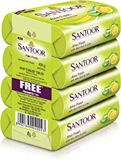 Santoor Aloe fresh Soap, 100g(Pack of 4)