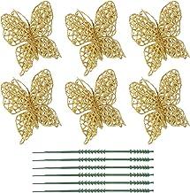 VICASKY Ornamento de borboleta com glitter de Natal 6 peças de Natal 3/8 cm decorações de árvore enfeites de festa de casa...