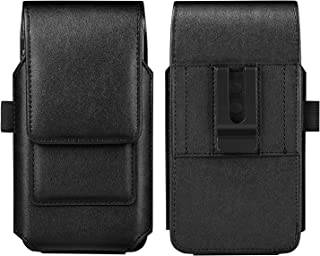 Mopaclle Galaxy Note 10 Holster Case, Galaxy S9 Belt Clip Case, Premium Leather Case Cell Phone Pouch with ID Card Holder for Samsung Galaxy S8, Galaxy S10 (Fits Phone w/Thin Case on) Black