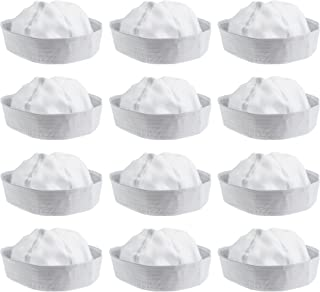 NJ Novelty White Sailor Hat Adult Costume Accessory, Dress Up Party Hats