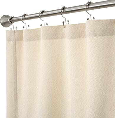 Cackleberry Home Cream and Gold Lurex Woven Fabric Shower Curtain 72 Inches W x 72 Inches L