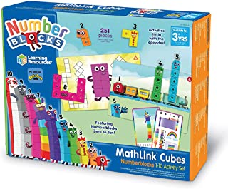 Learning Resources LSP0949-UK MathLink Cubes Numberblocks 1-10 Activity Set, Early Years Maths Learning, Build, Learn & Pl...