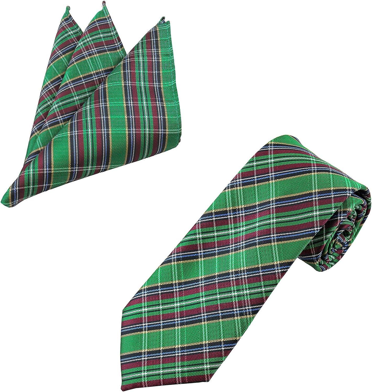 Jacob Alexander Men's Holiday Christmas Green Plaid Extra Long Neck Tie and Pocket Square Set