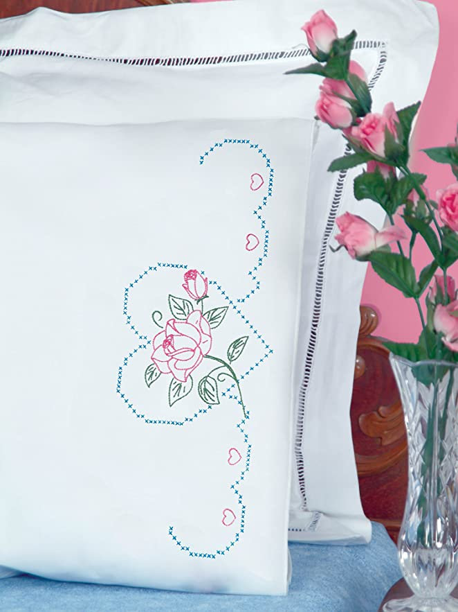 Jack Dempsey Needle Art 1600380 Perle Edge Pillowcase, Rose and Hearts with Perle Edge Finish, 20-Inch by 30-Inch, White