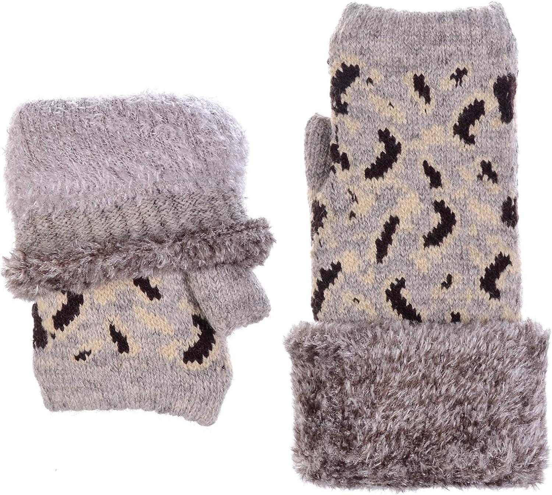 BYOS Womens Winter Plush Fleece Lined Knit Half Fingerless Gloves, Many Styles