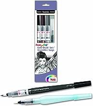 Pentel Arts Color Water Brush Box Set, Black/Gray/Sepia/Aquash (GFLFRHBP)