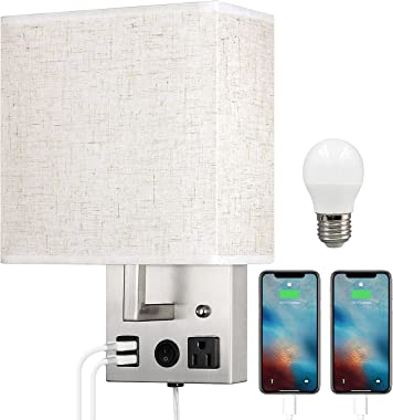 Wall Sconce with USB, Wall Lamp with Plug in Cord, Plug in Wall Light with Outlet, Bedside Wall Mount Light with E26 LED Bulb