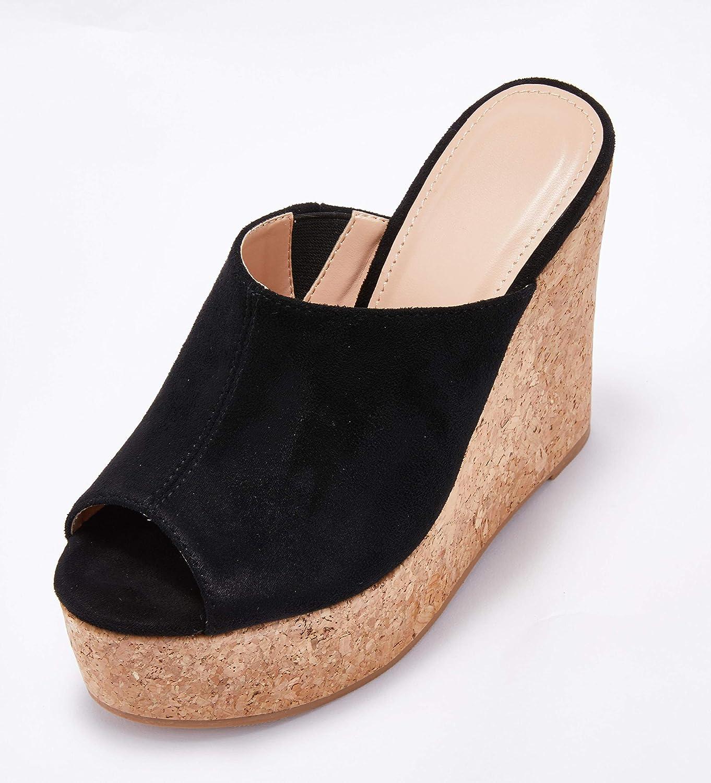 Womens Wedge Sandals Platform Backless Cork Peep Toe Slip On High Heel Summer Mules Slides